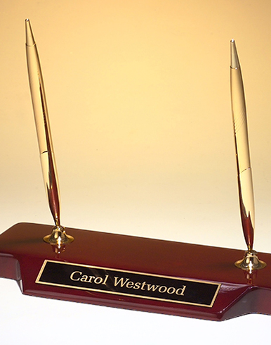 Rosewood Double Pen Nameplate