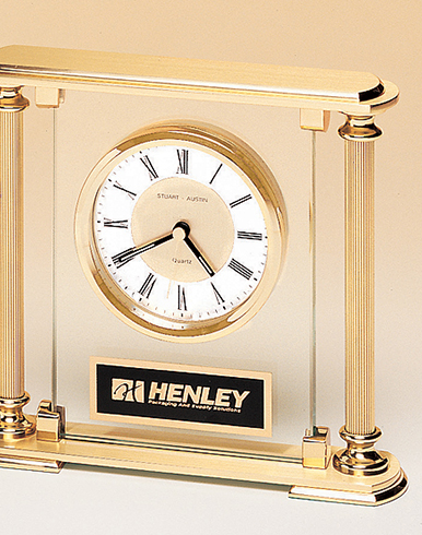 Metal Goldtone Desk Clock